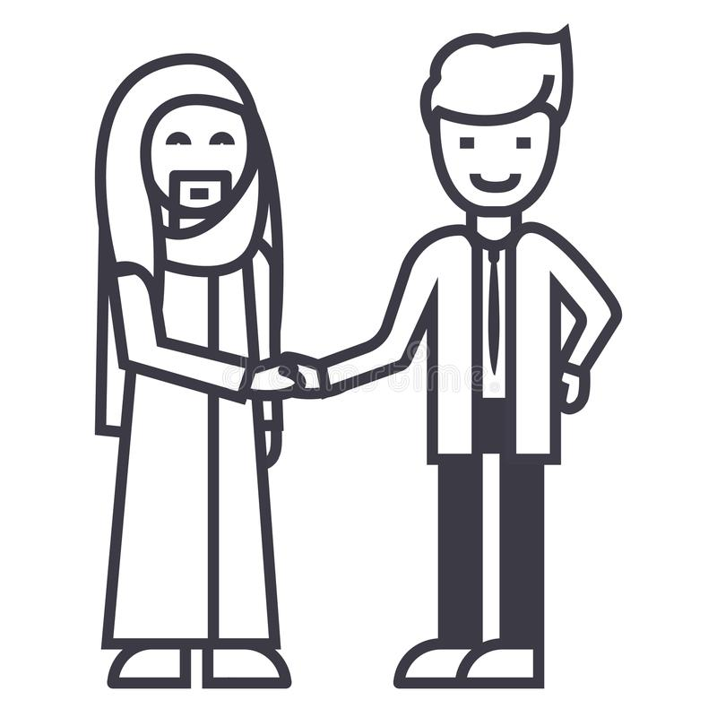 Arabisches Geschäft, Partnerschaft, Geschäftsmannhändedruck-Vektorlinie Ikone, Zeichen, Illustration auf Hintergrund, editable An stock abbildung