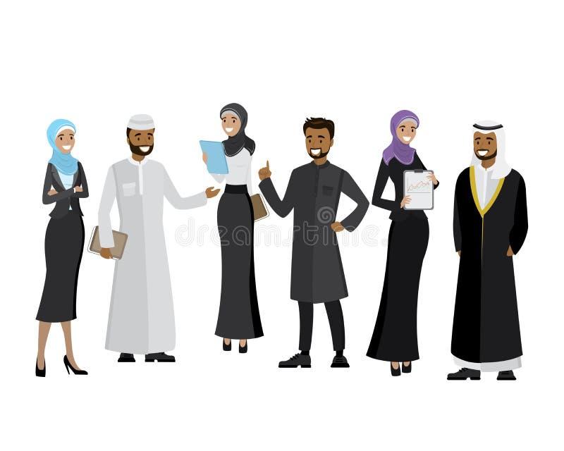 Arabisches Geschäftsteam, Karikaturgeschäftsleute stock abbildung