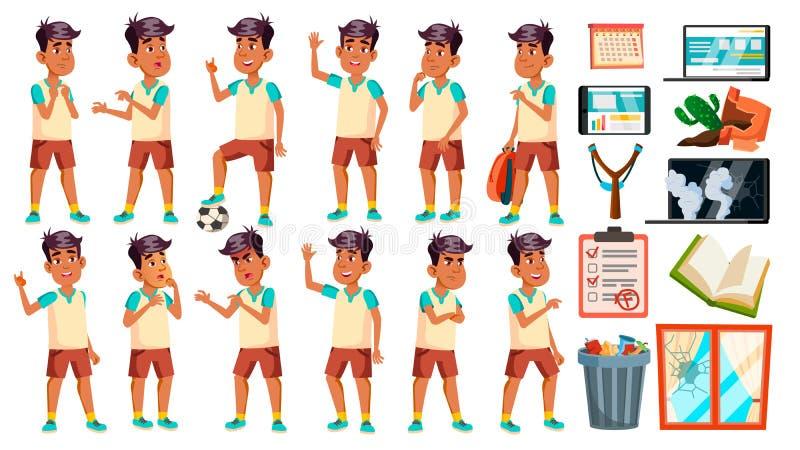 Arabisches, moslemisches Jungen-Schüler-Kind wirft gesetzten Vektor auf Highschool Kind Schüler Athlet, Fußball-Spieler Für Fahne lizenzfreie abbildung