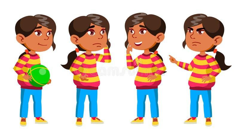 Arabisches, moslemisches Mädchen-Kindergarten-Kind wirft gesetzten Vektor auf vortraining Jugendlicher freundlich Für Netz Brosch lizenzfreie abbildung