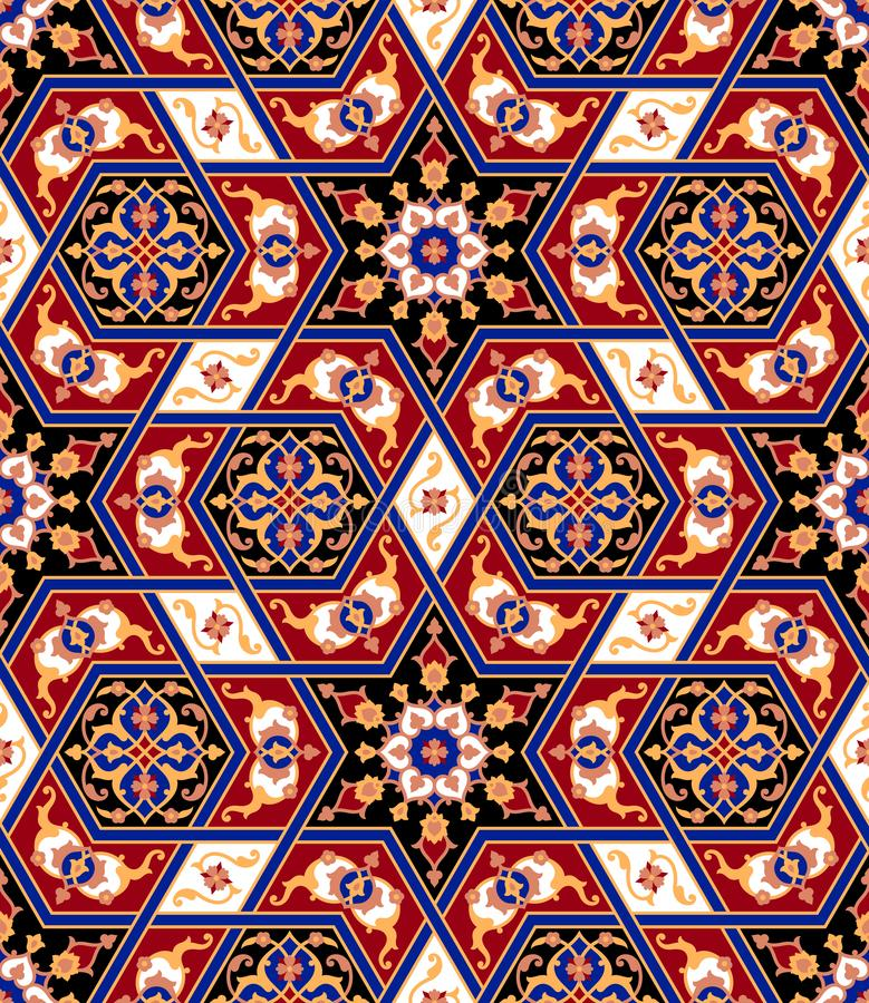 Arabisches nahtloses mit Blumenmuster Traditioneller islamischer Hintergrund stock abbildung