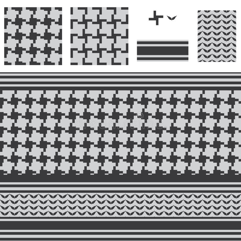Arabisches Quadrat verlängern schwarzes weißes nahtloses Muster vektor abbildung