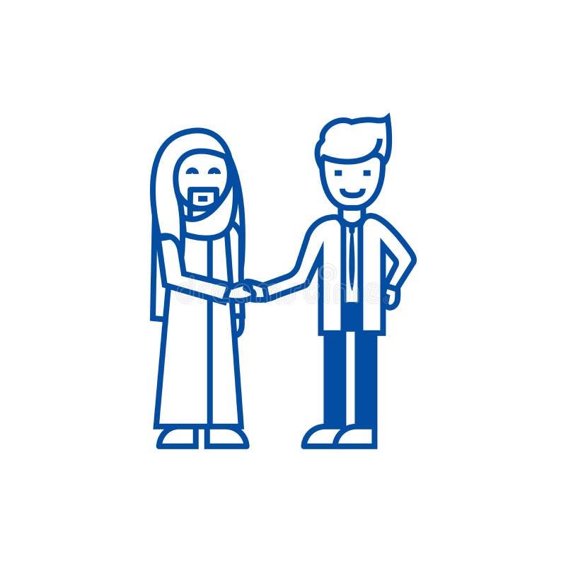 Arabisk affär, partnerskaplinje symbolsbegrepp Arabisk affär, plant vektorsymbol för partnerskap, tecken, översiktsillustration stock illustrationer