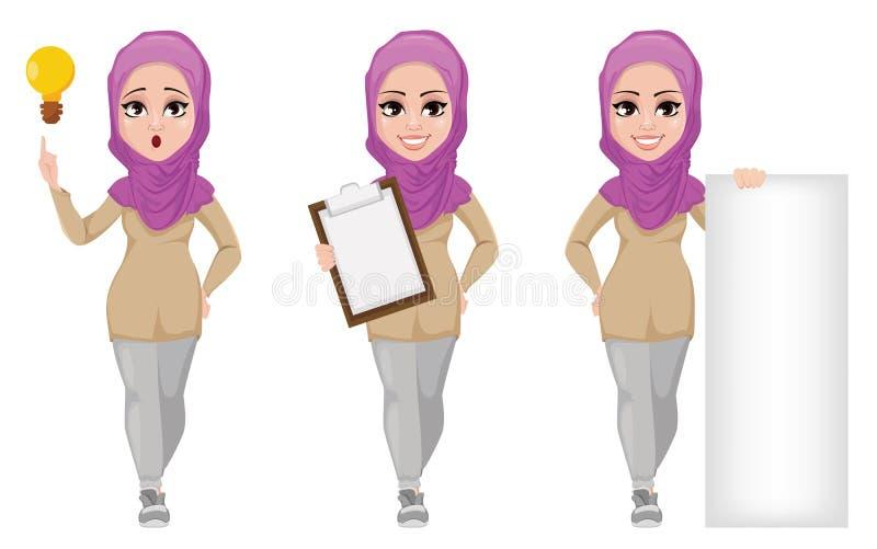 Arabisk affärskvinna som ler tecknad filmteckenet, uppsättning stock illustrationer