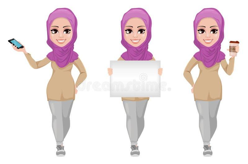 Arabisk affärskvinna som ler tecknad filmteckenet, uppsättning vektor illustrationer