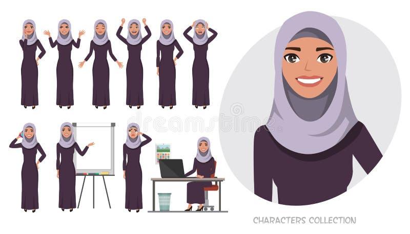 Arabisk affärskvinna Unga flickan i en tecknad filmstil erfar olika sinnesrörelser och poserar Uppsättningen av sinnesrörelser oc royaltyfri illustrationer