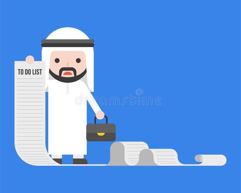 Arabisk affärsman eller chef som rymmer långt papper av för att göra listan royaltyfri illustrationer