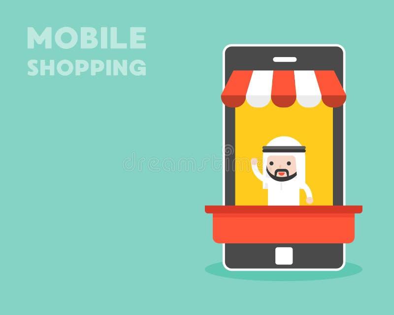 Arabisk affärsman i den mobila stallen, mobilt shoppingbegrepp, lägenhet vektor illustrationer