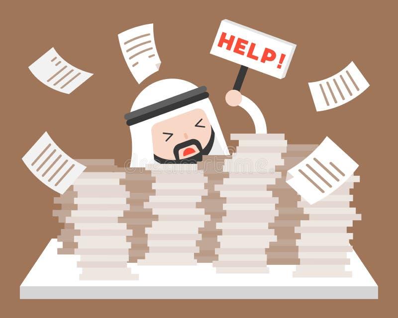 Arabisk affärsman i hög av dokument som frågar för hjälp, över arbete stock illustrationer