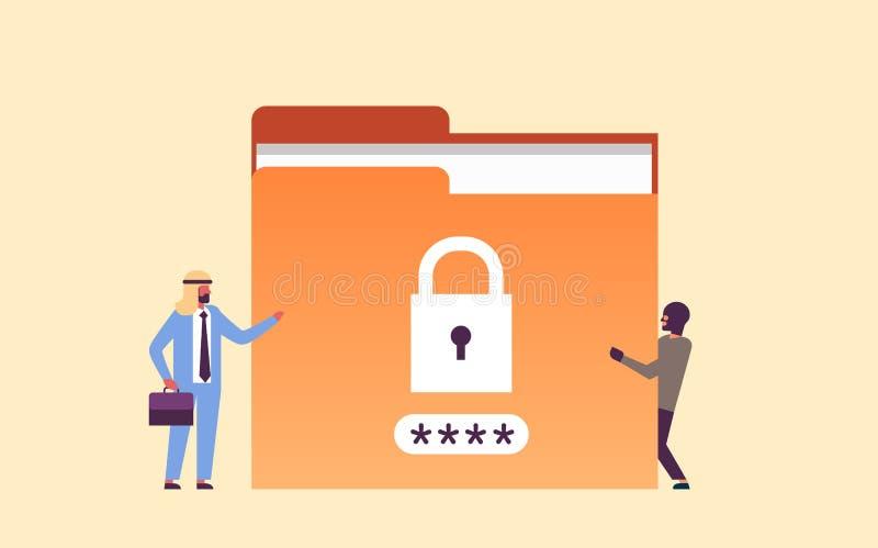Arabisk affärsman med lägenheten för databas för information om avskildhet för känsliga data för mapp för en hackerhänglåslösenor stock illustrationer