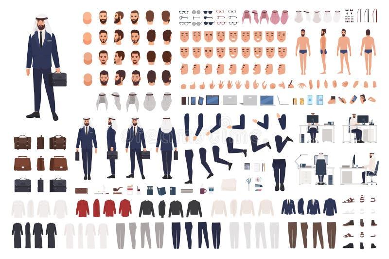 Arabisk affärsmankonstruktöruppsättning eller skapelsesats Packe av manliga kroppsdelar, kläder, sinnesrörelser, gester som isole stock illustrationer