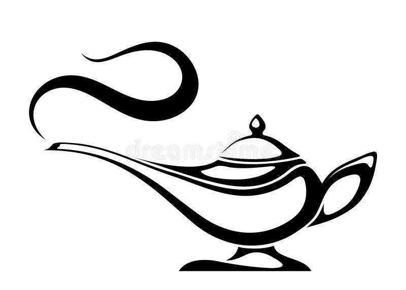 Arabisk ande i arabiska sagorlampa Svart silhouette för vektor stock illustrationer