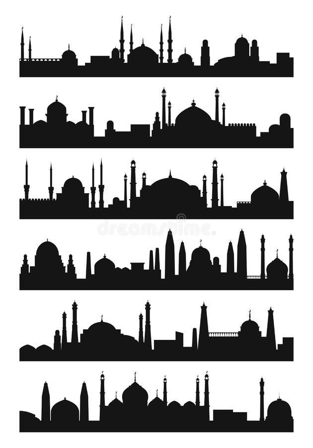 Arabisk arkitekturkontur av moskétaket Vektorstadsisolat på vit bakgrund vektor illustrationer