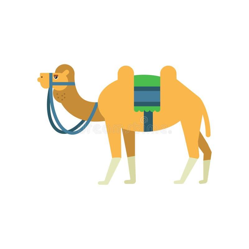 Arabisk bactrian kamel med den färgrika sadeln mellan två knölar Tecknad filmtecken av ökendjuret Symbol av islamiskt stock illustrationer