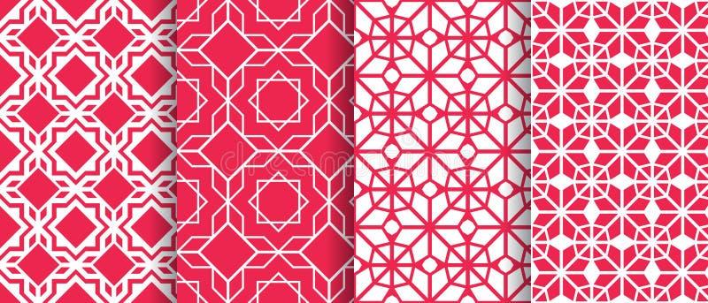 Arabisk bakgrundssamling Sömlös modelluppsättning för islamisk geometrisk vektor Eleganta texturer i östlig stil asiatisk garneri stock illustrationer