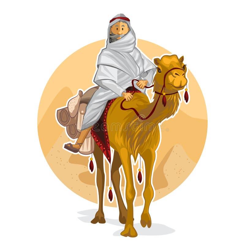 Arabisk beduin som rider en kamel som utför islamiska Al Hijra royaltyfri illustrationer