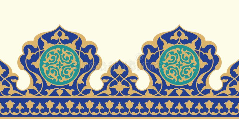 Arabisk blom- sömlös gräns Traditionell islamisk design vektor illustrationer
