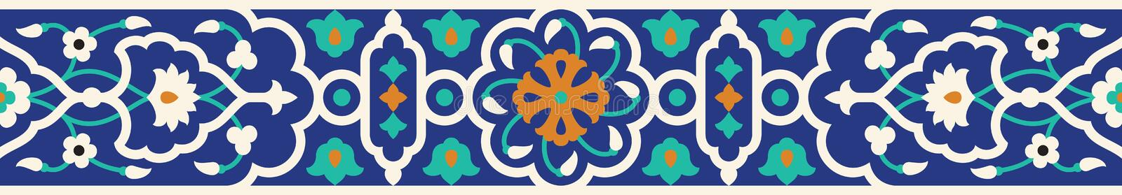 Arabisk blom- sömlös gräns Traditionell islamisk design stock illustrationer