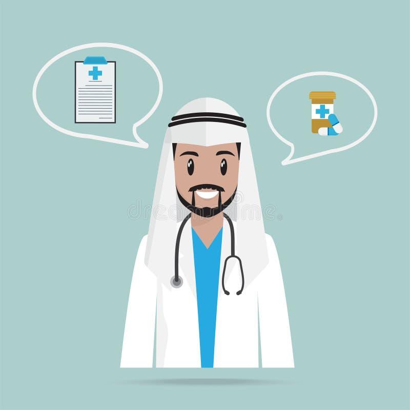 Arabisk doktor eller apotekare och piller symbol, medicinbegrepp royaltyfri illustrationer