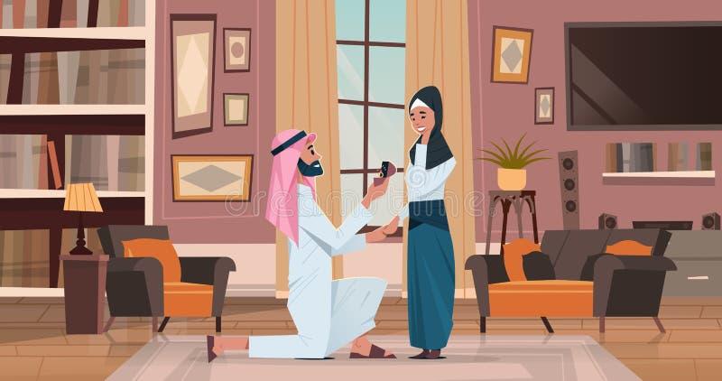 Arabisk för knäfallainnehav för man som förlovningsring föreslår den arabiska kvinnan för att att gifta sig honom förälskat gifta vektor illustrationer