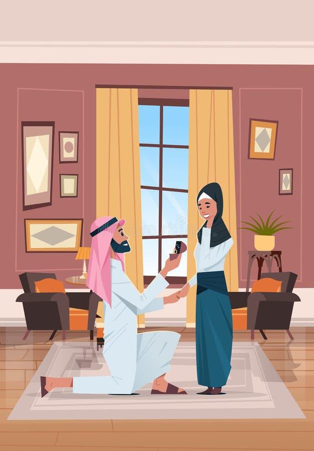 Arabisk för knäfallainnehav för man som förlovningsring föreslår den arabiska kvinnan för att att gifta sig honom förälskat gifta stock illustrationer