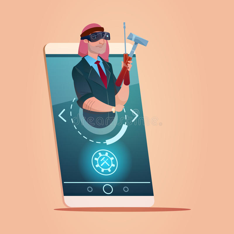 Arabisk för Smart för cell för affärsmanHold Instruments Wear Digital faktisk exponeringsglas kommunikation för nätverk telefon royaltyfri illustrationer