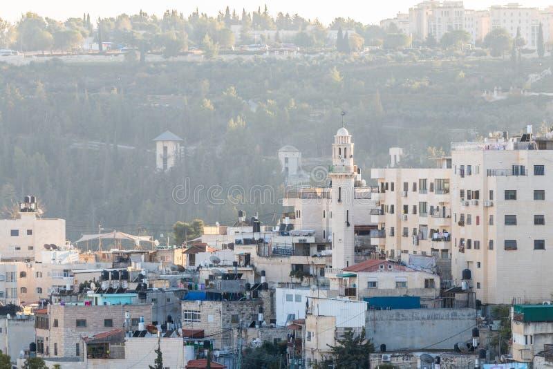 Arabisk förort på-Tur av Jerusalem, lokaliserat nära Lion Gate i östra Jerusalem, Israel arkivfoto