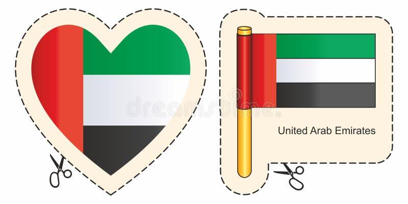 arabisk f?renad emiratesflagga Vektorsnitttecken här, isolerat på vit Kan användas för designen, klistermärkear, souvenir stock illustrationer