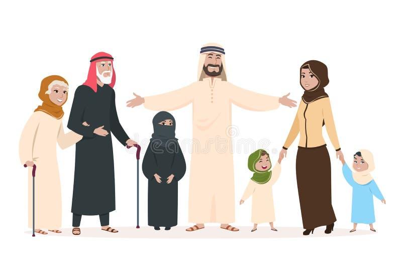 arabisk familj Muslimsk moder och fader, lyckliga ungar och äldre personer Tecken för vektor för saudierislamtecknad film vektor illustrationer
