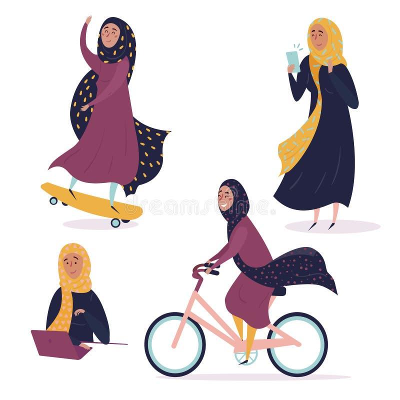 Arabisk flicka i olika lägen, i hijab stock illustrationer