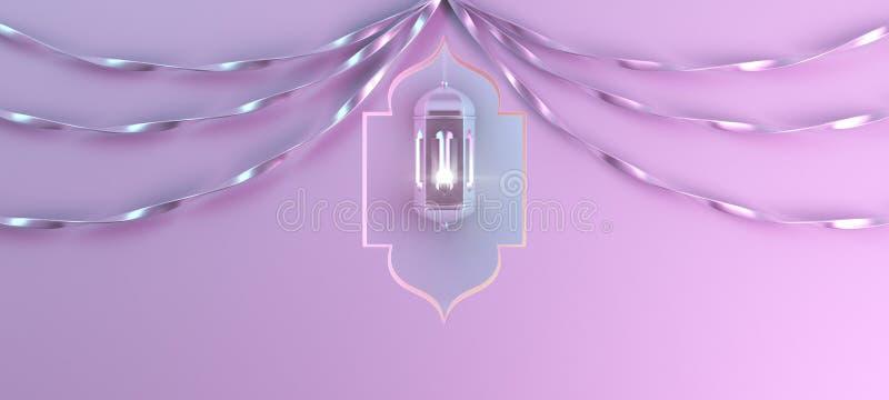 Arabisk hängande lykta med bandet och fönster på rosa lutningbakgrund vektor illustrationer