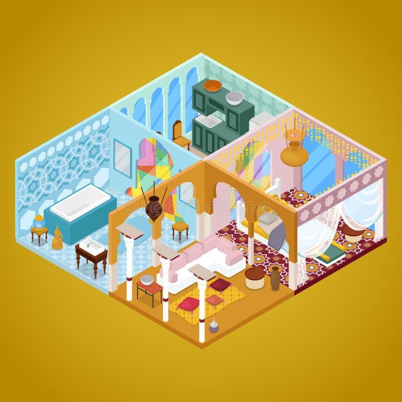 Arabisk inredesign Lägenhet i arabisk stil Isometrisk illustration för lägenhet 3d royaltyfri illustrationer