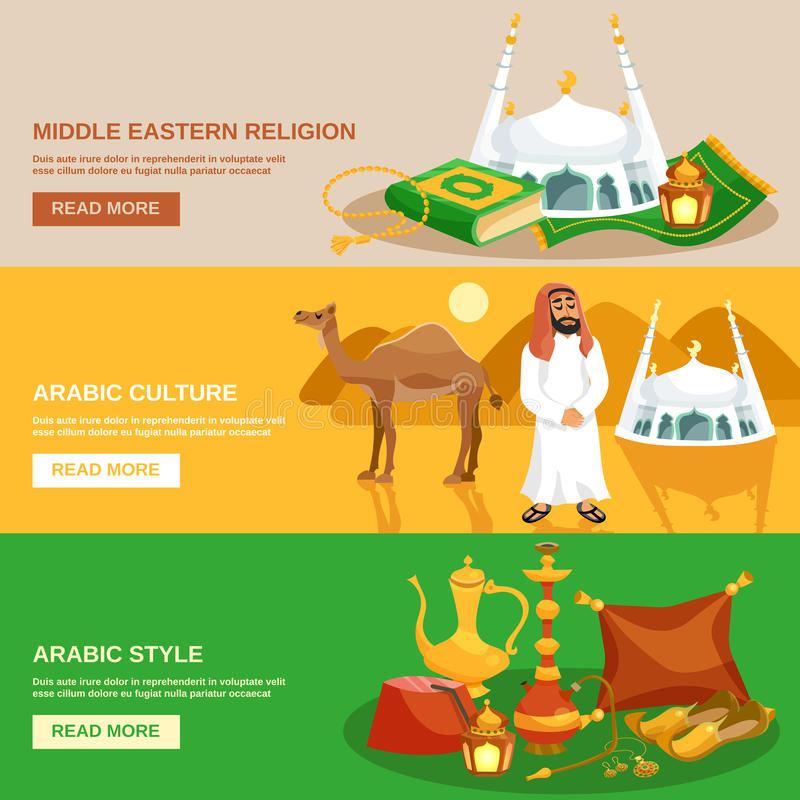 Arabisk kulturbaneruppsättning stock illustrationer