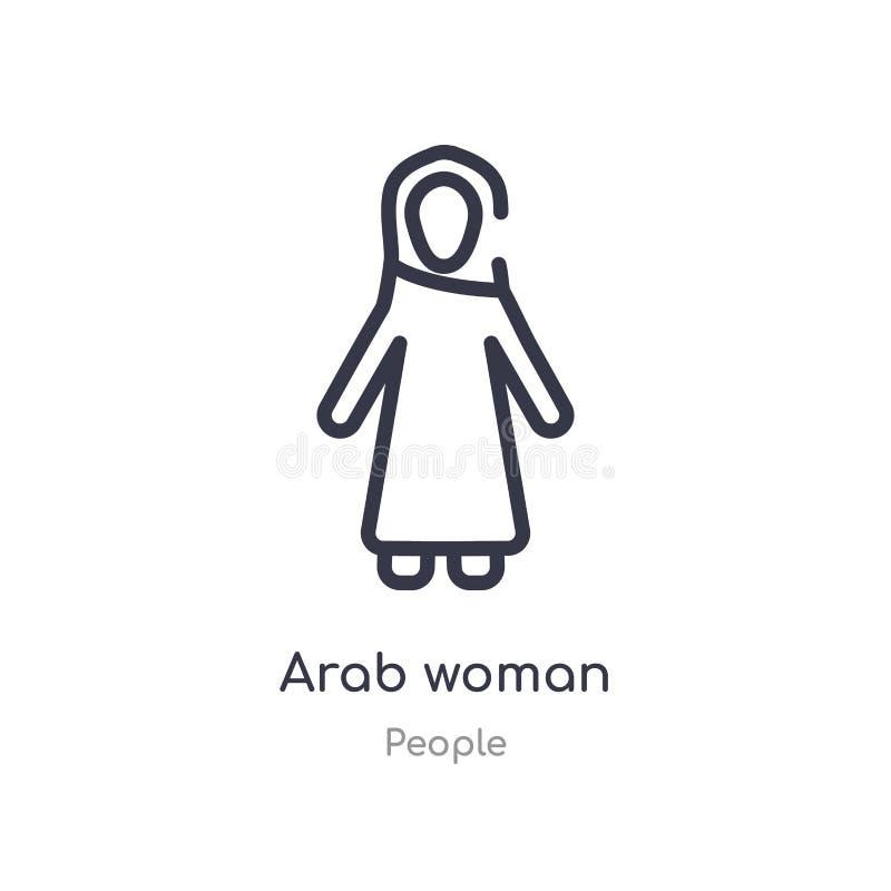 arabisk kvinnaöversiktssymbol isolerad linje vektorillustration fr?n folksamling arabisk kvinnasymbol för redigerbar tunn slaglän vektor illustrationer