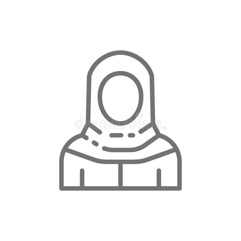Arabisk kvinna i den traditionella nationella klänningen, beduinlinje symbol royaltyfri illustrationer