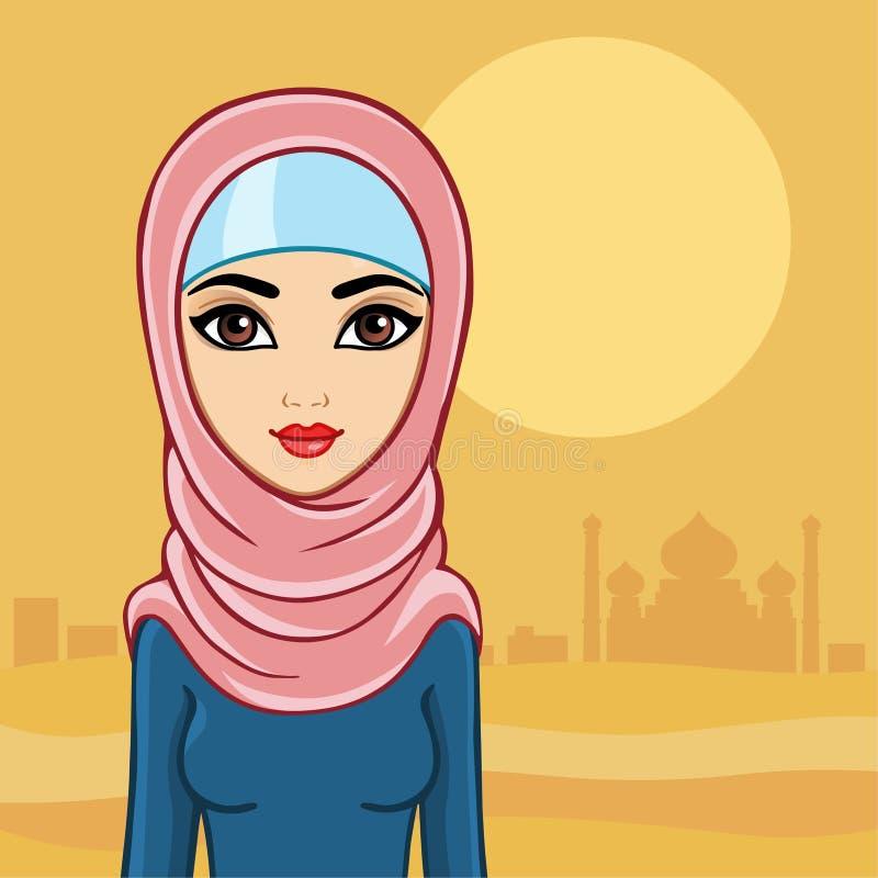 Arabisk kvinna mot slotten i öknen royaltyfri illustrationer