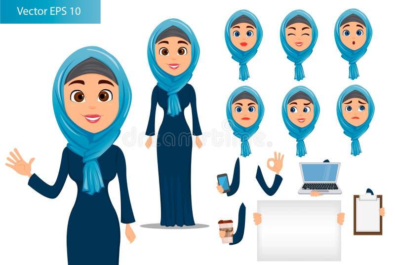 Arabisk kvinnakonstruktöruppsättning royaltyfri illustrationer