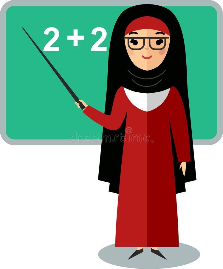 arabisk lärare nära skolförvaltning royaltyfri illustrationer