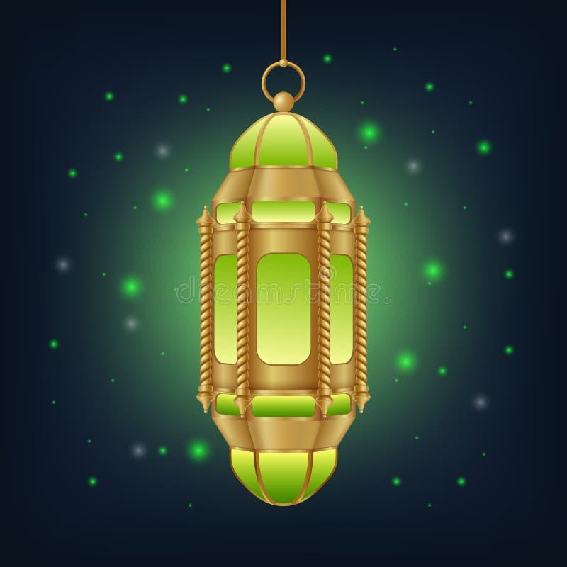 Arabisk lampa med härliga ljus i bakgrunden royaltyfri illustrationer