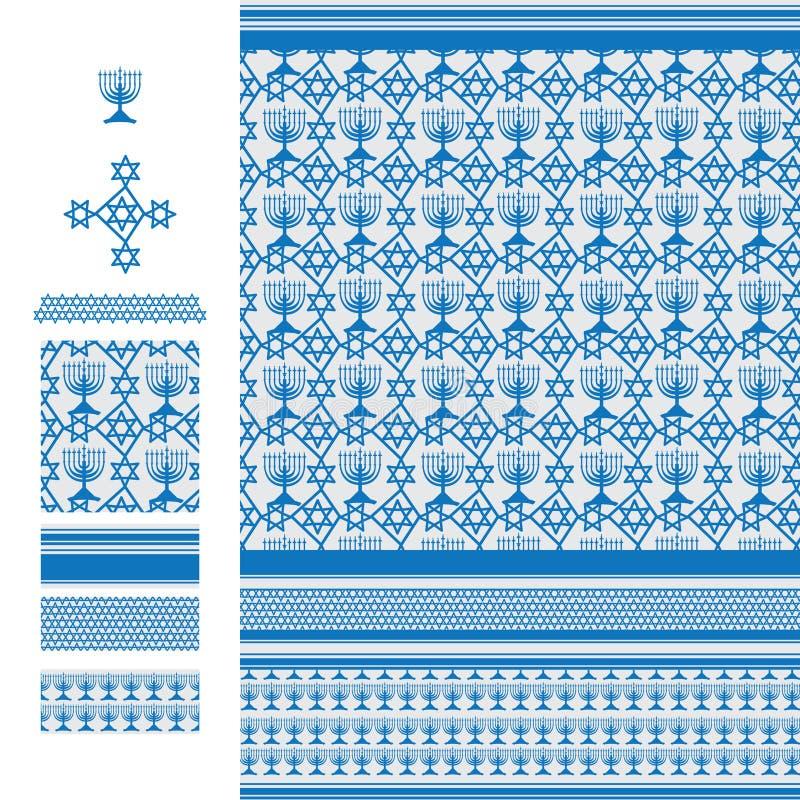 Arabisk linje sömlös modell för idéHannukah frihet för blått vektor illustrationer
