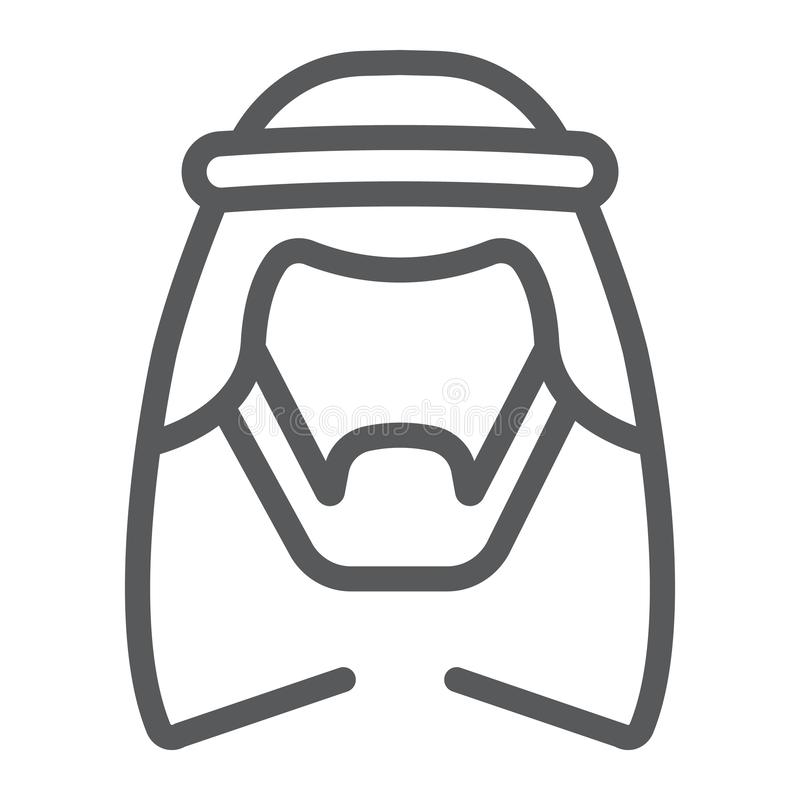 Arabisk linje symbol, man och muslim arabiskt mantecken, vektordiagram, en linjär modell på en vit bakgrund vektor illustrationer