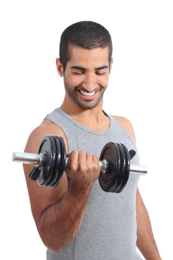 Arabisk lycklig man som övar lyftande vikter arkivfoton