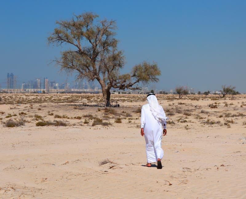 Arabisk man i öken arkivbild