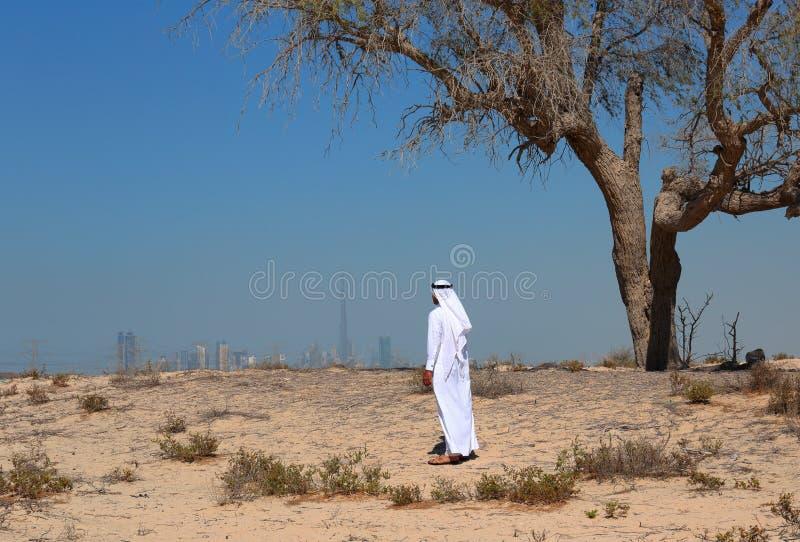 Arabisk man i öken arkivfoto