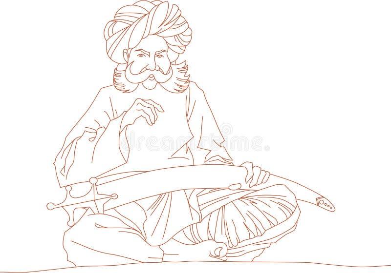 Arabisk man med ett svärd royaltyfri illustrationer
