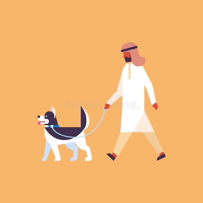 Arabisk man som går lägenheten för längd för tecken för tecknad film för begrepp för hundbästa vänhusdjur den arabiska fulla vektor illustrationer