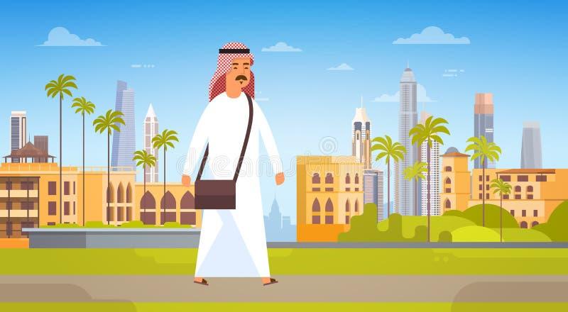 Arabisk man som går modernt lopp för affär för panorama för horisont för stadsbyggnadsCityscape och turismbegrepp vektor illustrationer