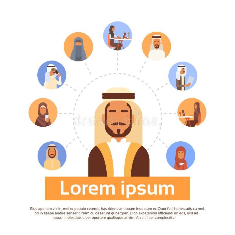 Arabisk man som har anslutning med Media Communication för muslimsk folkpratstund det sociala nätverket stock illustrationer