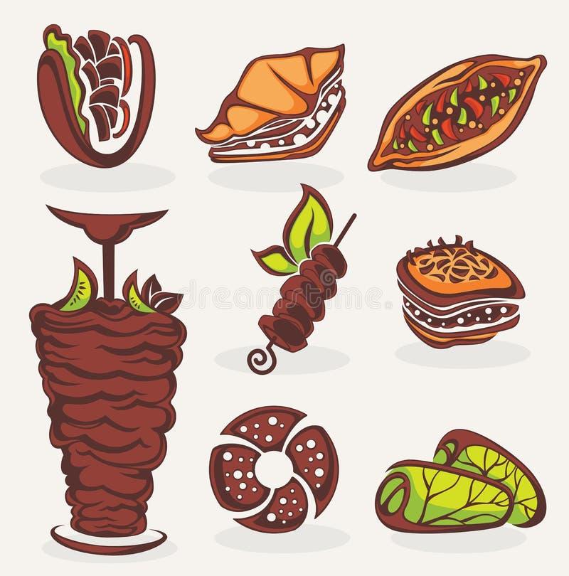 Arabisk mat royaltyfri illustrationer