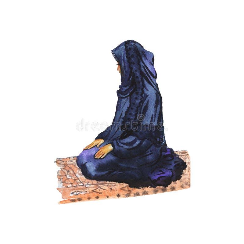 Arabisk muslimkvinna för vattenfärg som ber namaz Hand dragen ramadan kareemillustration stock illustrationer